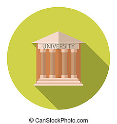 Flat design style illustration concept for University building education icon with long shadow