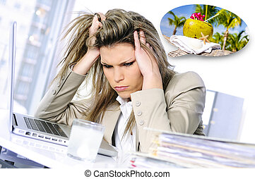 Overworked and dreamer - young woman stressed at work,...