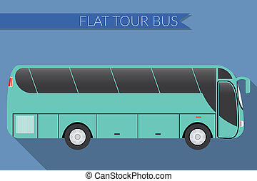 Flat design illustration city Transportation, Bus,...