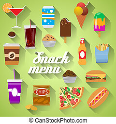 Snack Menu Flat design modern illustration of food, drink, coffee, hamburger, pizza, beer, cocktail, fastfood, cola, ice cream, potato chips, candy icons with long shadow