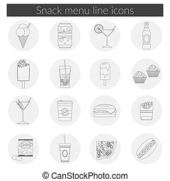 Snack Menu line icons set illustration of food, drink, coffee, hamburger, pizza, beer, cocktail, fastfood, cola, ice cream, potato chips, candy icons with long shadow