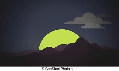 Abstract sunrise flat animation - Abstract sunrise with...