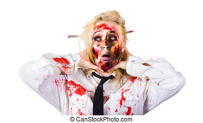 Crazy zombie business woman in struggle - Isolated image of...