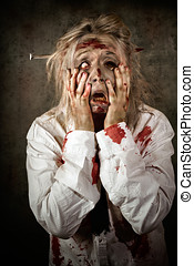 Shock horror. Surprised businesswoman zombie - Grunge...