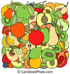 sweet fruits and berries - pattern with set of sweet fruits...