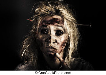 Evil Dead Female Zombie With Monster Headache - Dark...