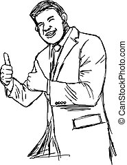 illustration vector hand drawn doodle plump businessman giving two thumbs up