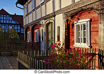 half-timbered house - traditionally wooden half-timbered...