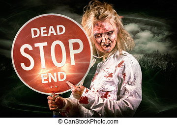 Halloween portrait Scary zombie holding stop sign -...