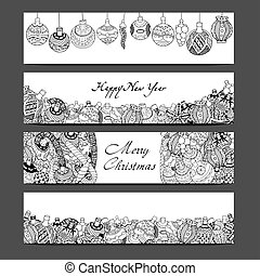 Cards with Christmas toys - Monochrome Cards with Christmas...