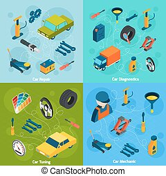 Car Repair And Tuning Isometric Icons - Car mechanic...