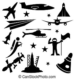 Aerospace Icon Set - Aerospace icon set isolated on a white...