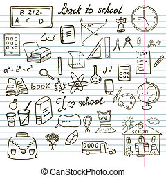 Back to School Supplies Sketchy Notebook Doodles set with...