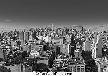 USA, NEW YORK CITY - April 27, 2012 New York City Manhattan skyline aerial view with skyscrapers.  colorless photo