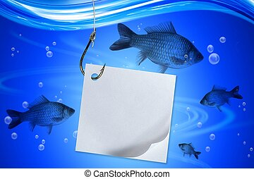 Fishing in deep blue water lake white clear note paper -...