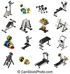 Realistic Fitness Equipment Icons Set - Realistic 3d icons...