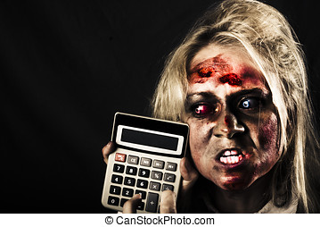 Business woman with calculator. Halloween sale - Mad undead...