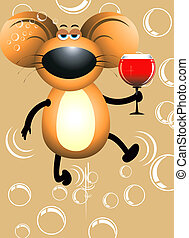 Rat and wine - A rat holding a wine filled glass