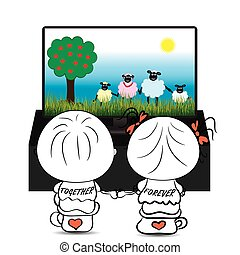 Couple boy and girl watching cartoon about cute sheep on TV,...