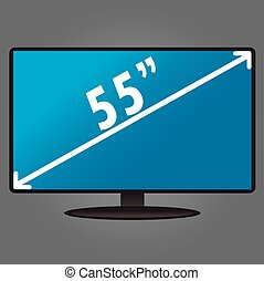 TV, with an index size of the screen, flat design, vector illustration