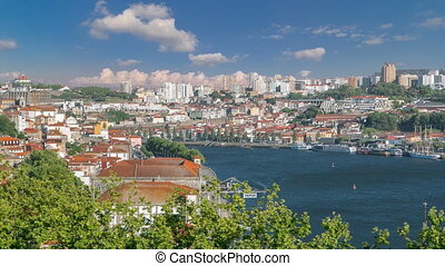 Porto, Portugal old town skyline on the Douro River...