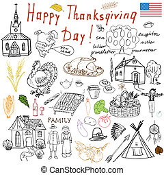 Thanksgiving doodles set Traditional symbols sketch...