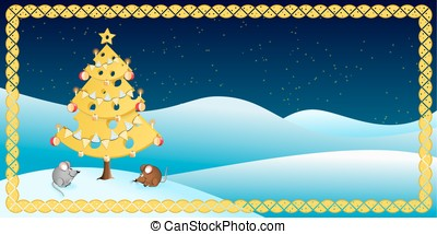 Cheese Christmas Tree With Two Mice - Vector Illustration of...