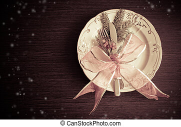 Christmas place setting, plate, knive and fork - Christmas...