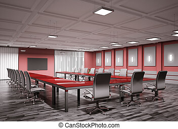 conference room interior 3d - conference room with lcd tv...