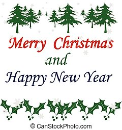 Merry Christmas and aHappy new year - Rubber stamp with text...