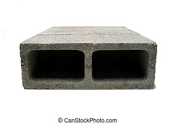 cement brick white background - picture in the two-hole...