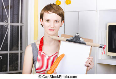 Woman pointing to healthy eating shopping list - Beatiful...