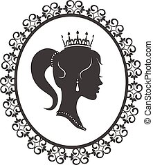 Princess in the frame - Profile silhouette of a princess in...