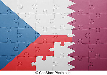 puzzle with the national flag of czech republic and qatar