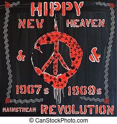 hippie - hand drawn vector - Hippie, Hippy - An hand drawn...