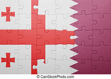 puzzle with the national flag of georgia and qatar concept