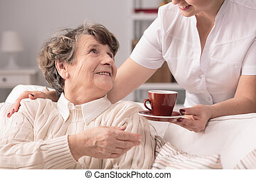 Senior and private carer - Photo of smiling positive senior...