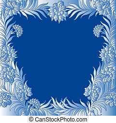 Pattern with a frame of frozen flowers - Pattern with a...