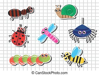 Set Cartoon insects - Set of bright Cartoon insects against...