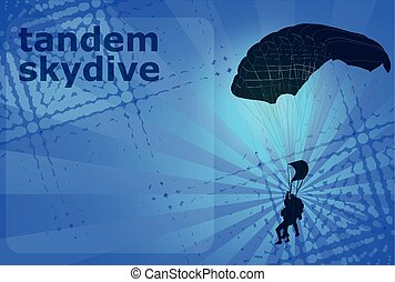 skydiving tandem silhouette on the abstract background