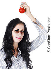 Zombie holding warning light - Zombie woman holding red...