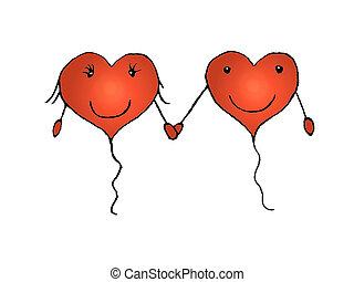 amor, pareja, concepto, lápiz, dibujo,