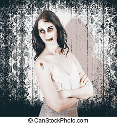 Vintage halloween spook on grunge background - Old Fashion...
