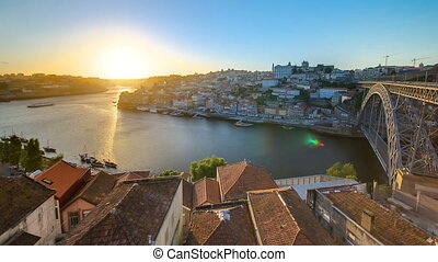 Panorama old city Porto at river Duoro,with Port...