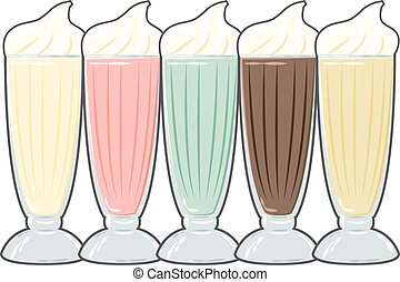 Basic RGB - vintage milkshake poster, illustration in vector...