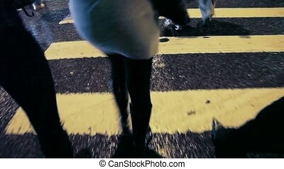 walking on pedestrian crossing