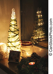 Christmas tree and decorations with candles - Christmas tree...