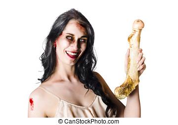 zombi,  Halloween, humano, Hueso, tenencia