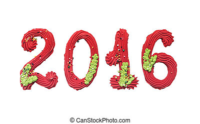 2016 New Year. Figures in the form of a cookie isolated on...