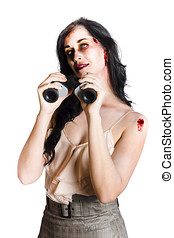 Zombie woman with binoculars - Zombie woman holding...